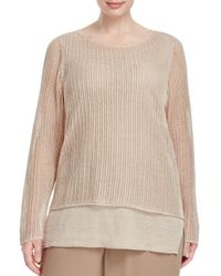 Eileen Fisher | Natural Open Knit Sweater | Lyst