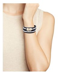 Ferragamo - Black Gancini Leather Wrap Bracelet - Lyst