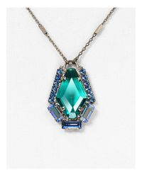 "Sorrelli - Blue Swarovski Crystal Pendant Necklace, 16"" - Lyst"