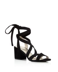 Kenneth Cole - Black Victoria Strappy Lace Up Mid Heel Sandals - Lyst