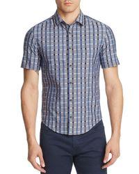 BOSS Green - Blue Windowpane Check Slim Fit Button-down Shirt for Men - Lyst