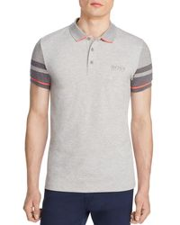 BOSS Green - Gray Slim Fit Polo for Men - Lyst