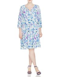 NYDJ - Blue Plus Printed Pleat Back Dress - Lyst