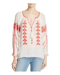 Parker - White Felicia Embroidered Peasant Top - Lyst