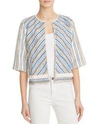 Guess - Blue Fringe Trim Embroidered Jacket - Lyst