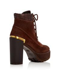 Stuart Weitzman | Brown Rugged High Heel Platform Booties | Lyst