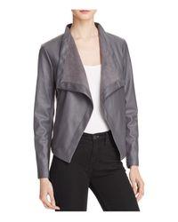 BB Dakota | Gray Peppin Draped Faux Leather Jacket | Lyst