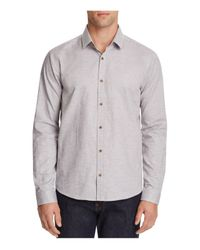 HUGO Gray Enosh Speckled Slim Fit Button-down Shirt for men