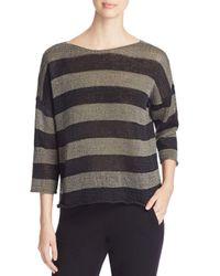 Eileen Fisher Black Boat Neck Stripe Sweater