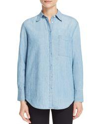 Vince - Blue Oversize Chambray Shirt - Lyst