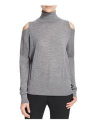 VINCE | Gray Cold Shoulder Turtleneck Sweater | Lyst