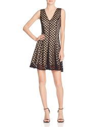 Aqua - Black Double V Lace Dress - Lyst