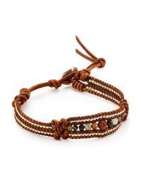 Chan Luu Brown Turquoise, Sodalite, Amazonite & Leather Multi-row Beaded Wrap Bracelet