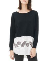 Sandro - Black Sakura Layered-look Sweater - Lyst