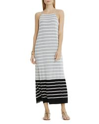 Vince Camuto - Gray Striped Side Slit Maxi Dress - Lyst
