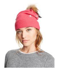 Aqua | Pink Knit Hat With Asiatic Raccoon Fur Pom-pom | Lyst