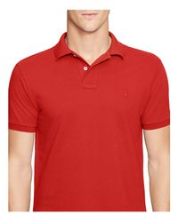 Polo Ralph Lauren Red Slim Fit Mesh Polo Shirt for men