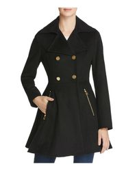 Laundry by Shelli Segal | Black Fit And Flare Double-breasted Coat | Lyst