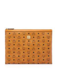 MCM - Brown Large Heritage Top-zip Pouch - Lyst