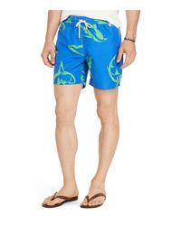 Polo Ralph Lauren Blue Shark Print Swim Trunks for men
