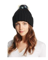 Aqua | Black Ribbed Beanie With Sequined Pompom | Lyst