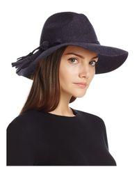Bettina | Blue Wide Brim Wool Fedora | Lyst