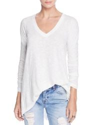 Free People   White Anna Long-sleeve Tee   Lyst