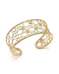 Roberto Coin - Metallic 18k Yellow Gold Bollicine Diamond Cuff Bracelet - Lyst