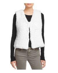 Aqua | White Knit Faux Fur Vest | Lyst
