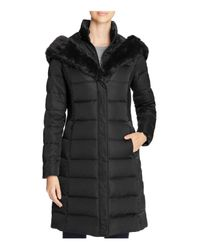 T Tahari Black Felicity Long Puffer Coat