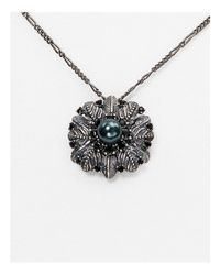 "Marc Jacobs - Metallic Dark Plumes Imitation Pearl Pendant Necklace, 15"" - Lyst"