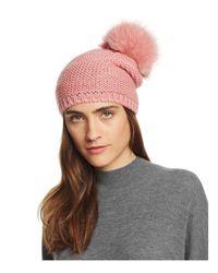 Kyi Kyi Blue Slouchy Hat With Fox Fur Pom-pom