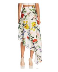 Alice + Olivia Multicolor Alice + Olivia Joeann Floral Asymmetric Silk Skirt