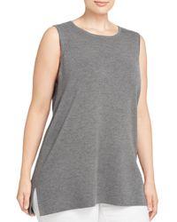 Eileen Fisher | Gray Knit Wool Tank | Lyst