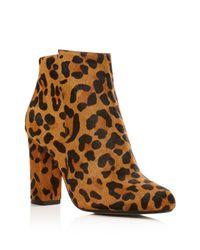 RAYE | Brown Ivy Leopard Print Calf Hair High Heel Booties | Lyst