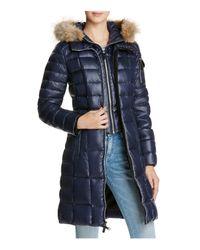 Marc New York   Blue Lindsay Fur Trim Down Coat   Lyst
