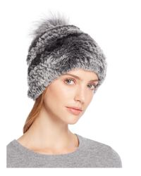 Surell Multicolor Rabbit Fur Beanie With Pom-pom - 100% Bloomingdale's Exclusive