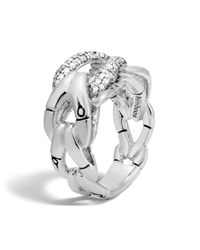 John Hardy | Metallic Sterling Silver Bamboo Ring With Diamonds | Lyst