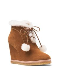 Michael Kors   Brown Collection Chadwick Suede And Shearling Wedge Booties   Lyst