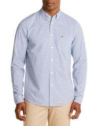 Lacoste   Blue Poplin Check Regular Fit Button-down Shirt for Men   Lyst