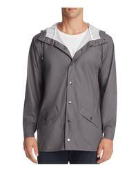 Rains Gray Short Hooded Jacket for men
