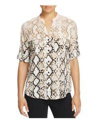 Calvin Klein Multicolor Snakeskin-print Roll-sleeve Top
