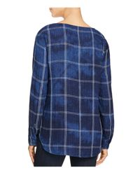 Side Stitch - Blue Windowpane Lace Up Shirt - Lyst