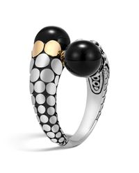 John Hardy | 18k Yellow Gold And Sterling Silver Dot Bypass Ring With Black Onyx | Lyst