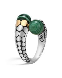 John Hardy | Green 18k Yellow Gold And Sterling Silver Dot Bypass Ring With Malachite | Lyst