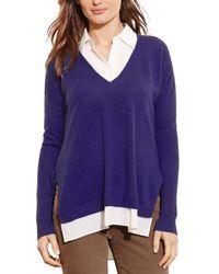 Pink Pony Purple Lauren Mixed Media Cashmere Sweater - 100% Exclusive