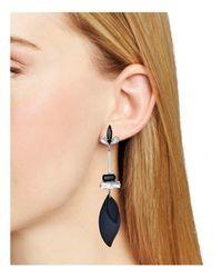 Aqua - Black Glam Floral Drop Earrings - Lyst