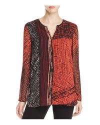 NIC+ZOE | Red Nic+zoe Making Marks Abstract Print Top | Lyst