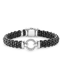 Lagos | Black Caviar Ceramic Bracelet With Sterling Silver And Diamonds | Lyst