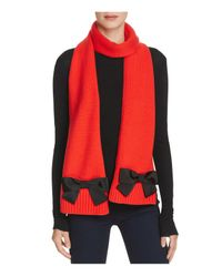 kate spade new york Red Muffler Scarf With Grosgrain Bows